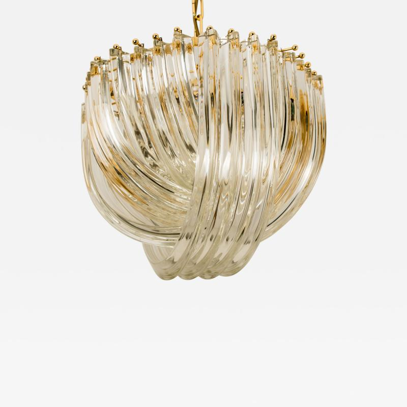 Venini Venini Light Fixture Curved Crystal Glass and Gilt Brass Italy