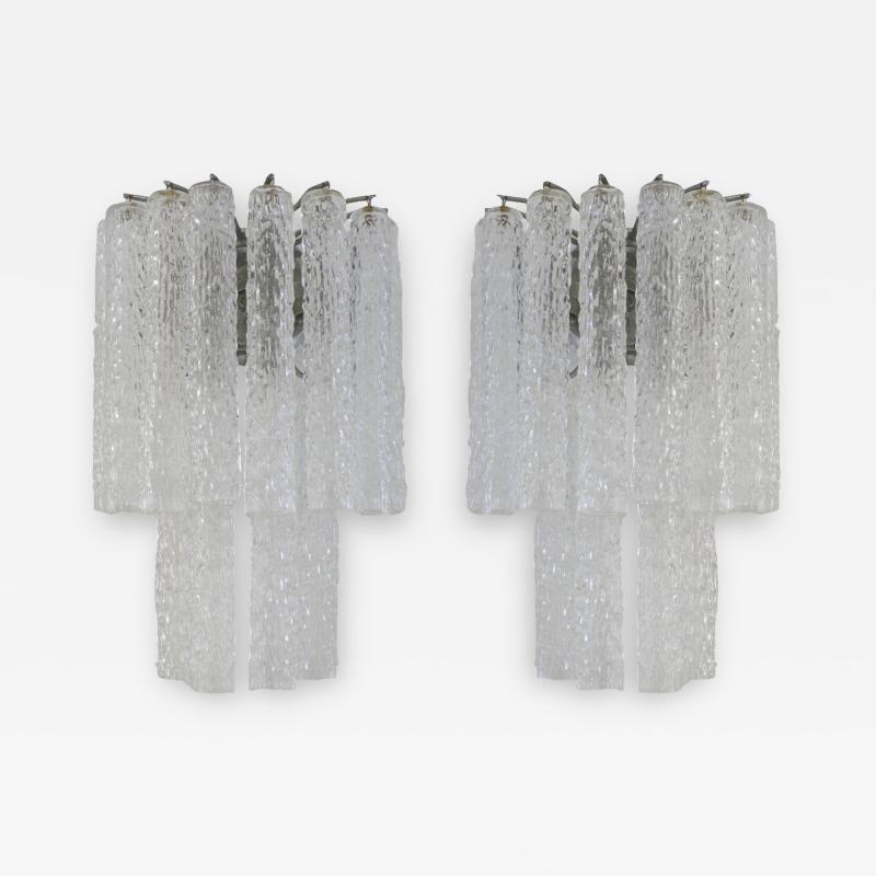 Venini Venini Murano Glass Pair of 1960s Italian Sconces