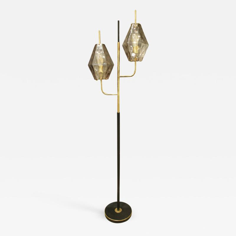 Venini Venini Poliedri Floor Lamp with Artisan Glass Shades 1958