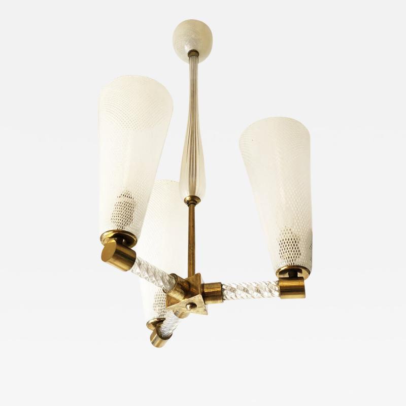 Venini Venini Reticello Murano Glass Pendant Italy 1940s