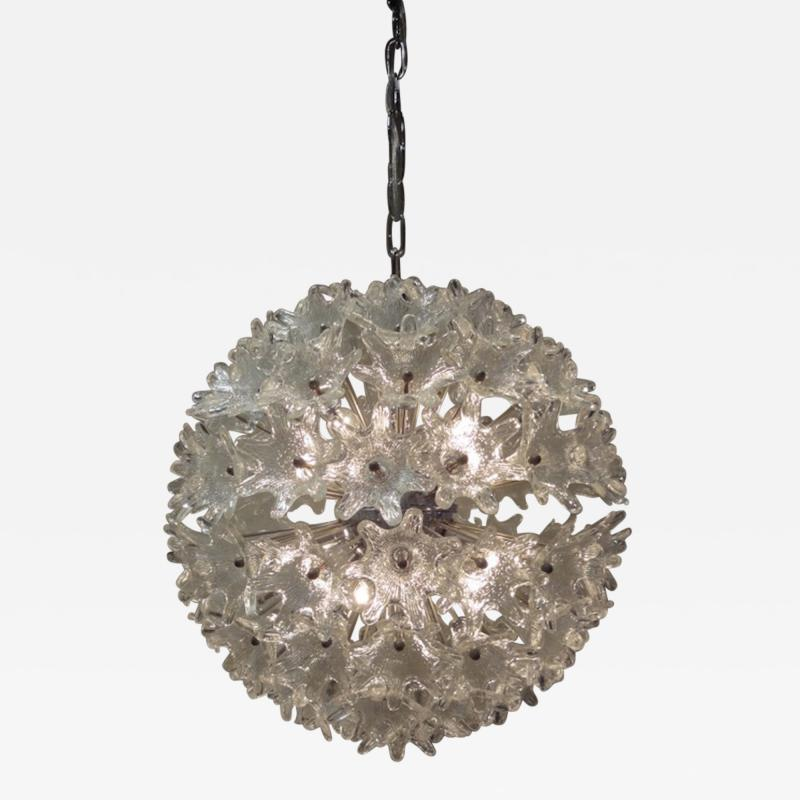 Venini Venini attribution Mid Century Murano Glass Flower Ball Sputnik Chandelier