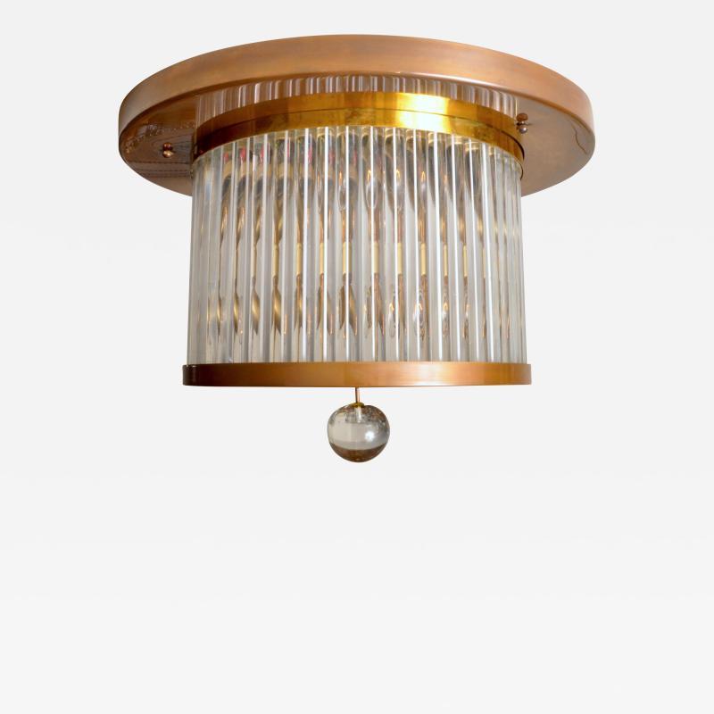Venini Vintage Italian Brass and Glass Flushmount