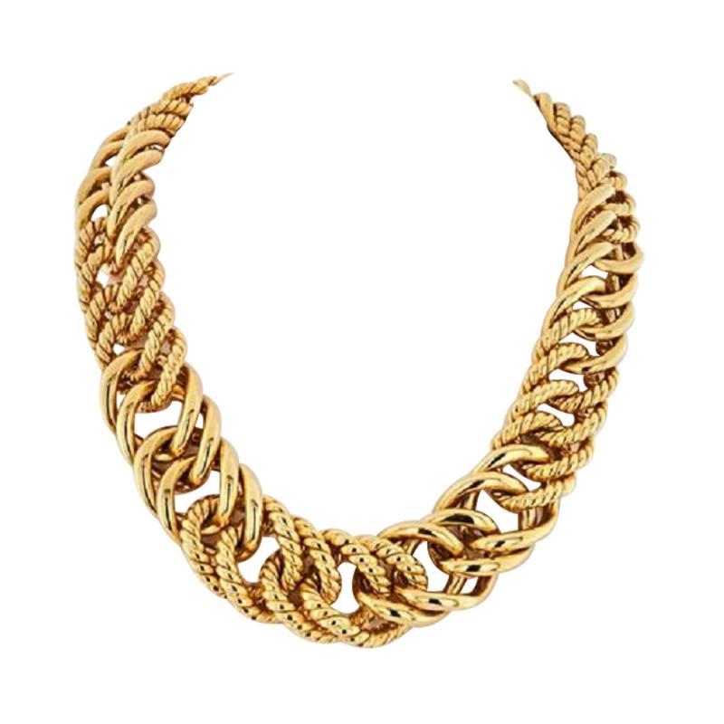 Verdura VERDURA 18K YELLOW GOLD DOUBLE CRESCENT CHAIN LINK NECKLACE
