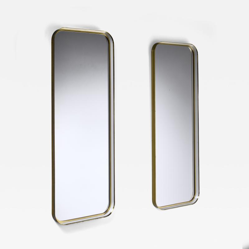 Vereinigte Werkst tten F r Kunst Im Handwerk Large Pair of Rectangular Brass and White Hallway Mirrors Germany 1950s