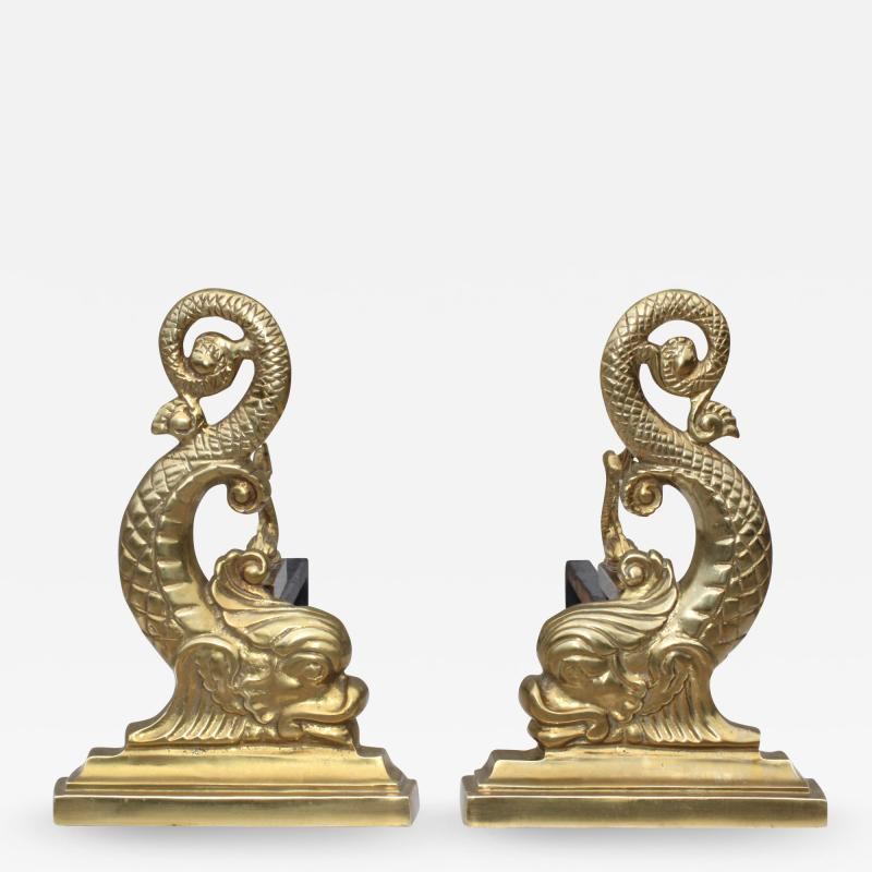 Virginia Metalcrafters VMC Virginia Metalcrafters Brass Dolphin Andirons