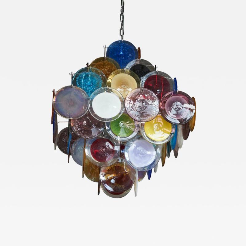 Vistosi 1 of 2 Large Multi Color Murano Glass Disk Chandelier Attributed to Vistosi