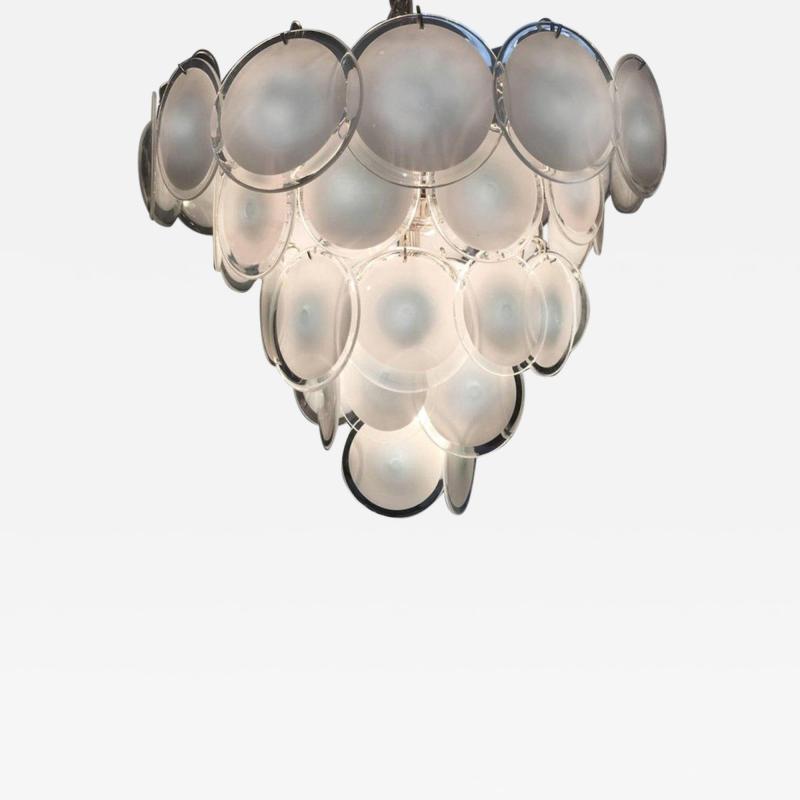 Vistosi Charming Murano Disc Chandelier by Vistosi 1970s