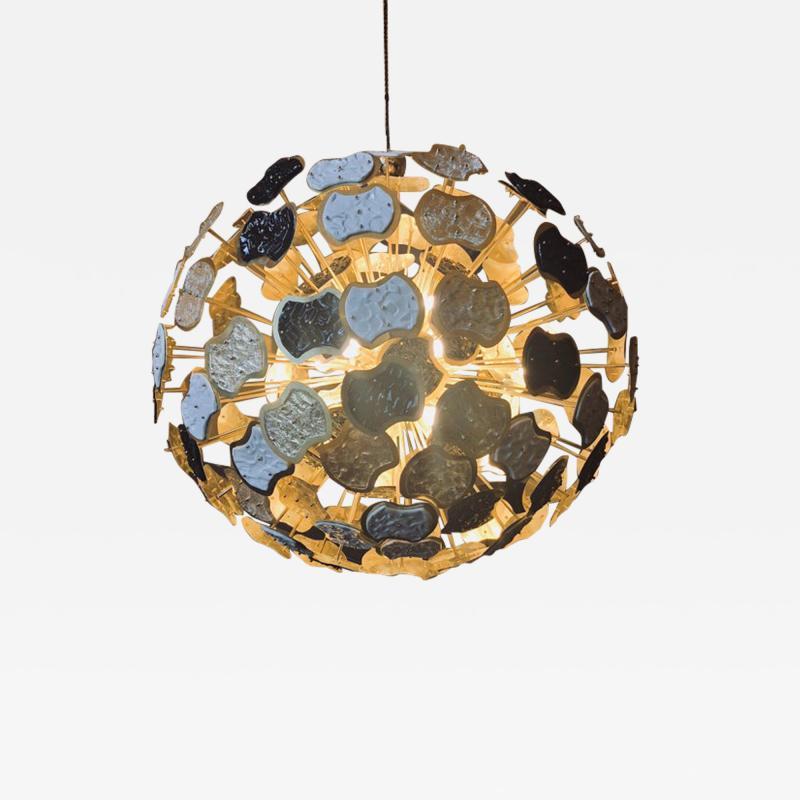 Vistosi Late 20th Century Brass and Multi Color Murano Glass Sputnik Chandelier