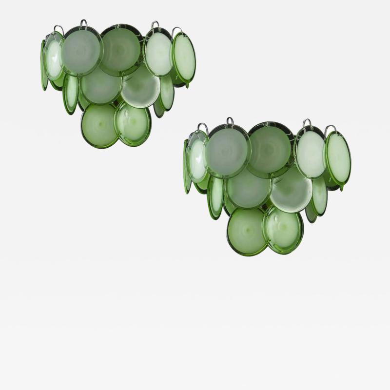 Vistosi Pair of Green Vistosi Disc Murano Chandelier 1970s