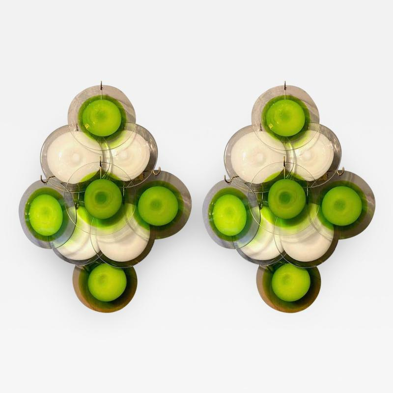 Vistosi Pair of Green and White Vistosi Disc Murano Glass Sconces or Wall Light 1970s