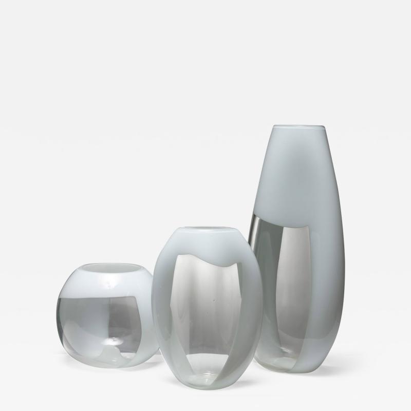 Vistosi Set of Three Glass Vases Manufactured by Vetreria Vistosi