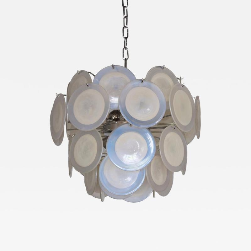 Vistosi White Iridescent Murano Glass Disc Chandelier Attributed to Vistosi