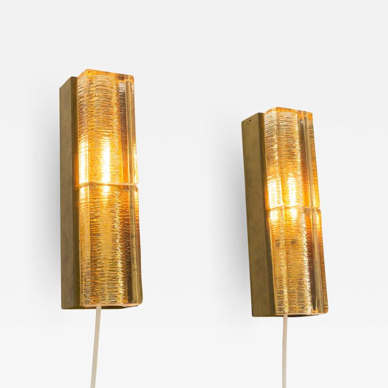 Vitrika Pair of Glass and Brass Double Atlantic Wall lamps by Vitrika in Gold 1970s