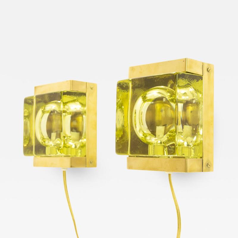 Vitrika Pair of Greenish Maritim glass and brass Wall lamps by Vitrika 1970s