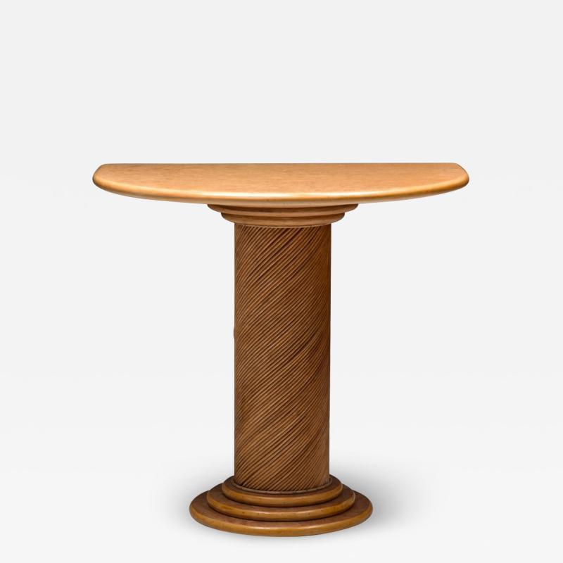 Vivai del Sud Bamboo Rattan Console Table by Vivai del Sud 1970s