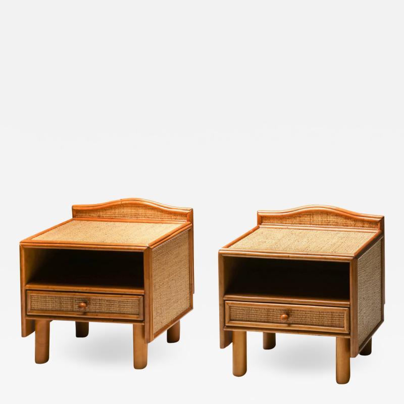 Vivai del Sud Bamboo rattan bed side tables Vivai del Sud 1970s