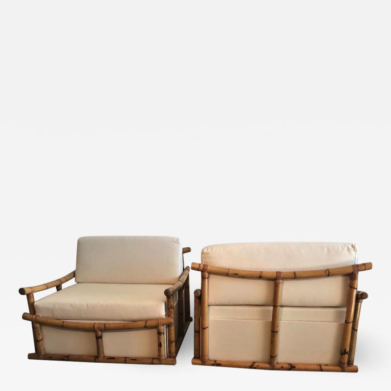 Vivai del Sud Pair of Large Armchairs in Bamboo