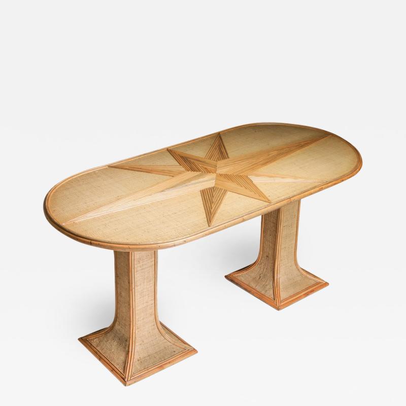 Vivai del Sud Rattan and Bamboo Table by Vivai del Sud 1970s