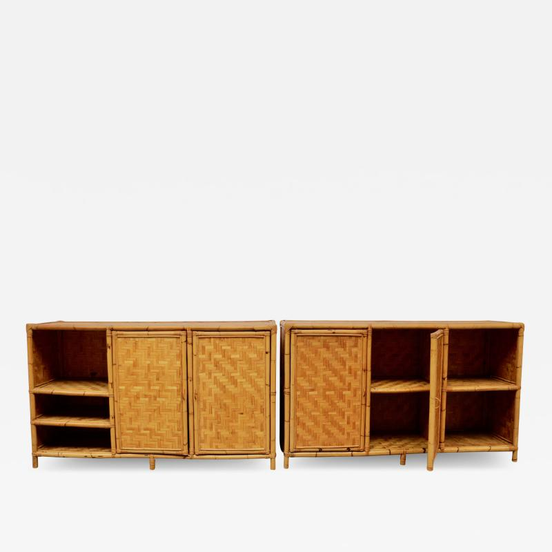Vivai del Sud Woven bamboo sideboards Italy 60s