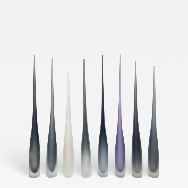 Vivarini FLUTE by Vivarini Series of 8 Murano glass vases