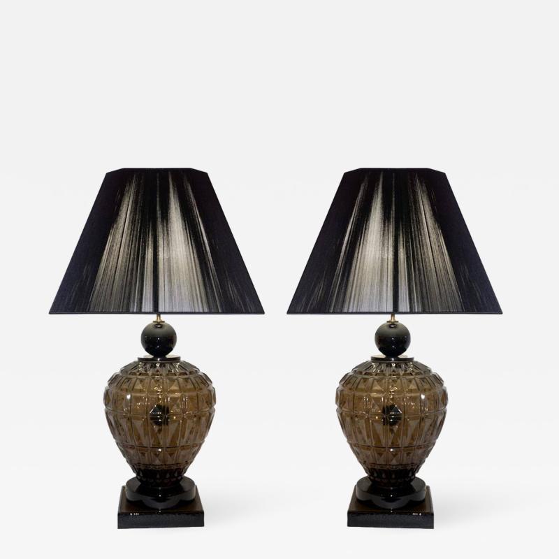 Vivarini Vivarini 1970s Italian One of a Kind Pair of Black and Smoked Murano Glass Lamps