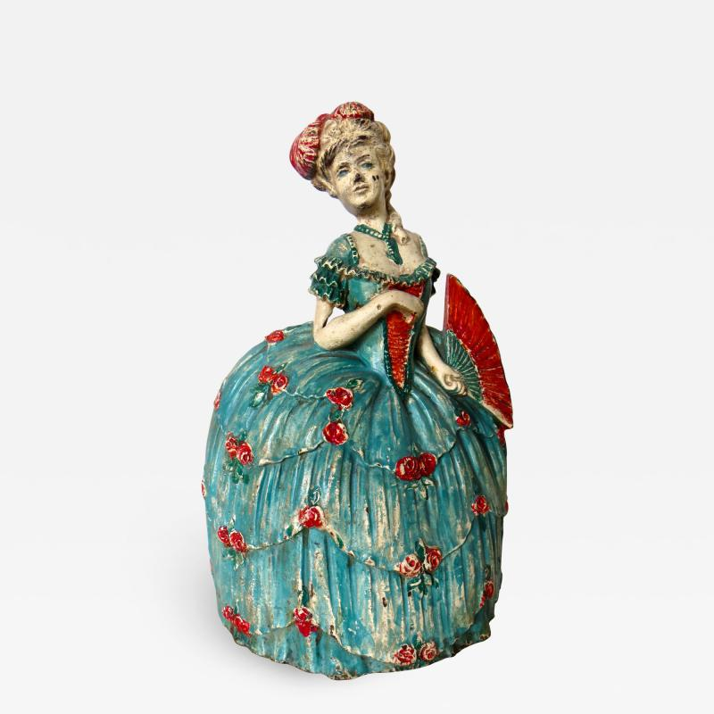 Waverly Studios Cast Iron Doorstop Woman In Hoop Skirt With Fan American Circa 1925