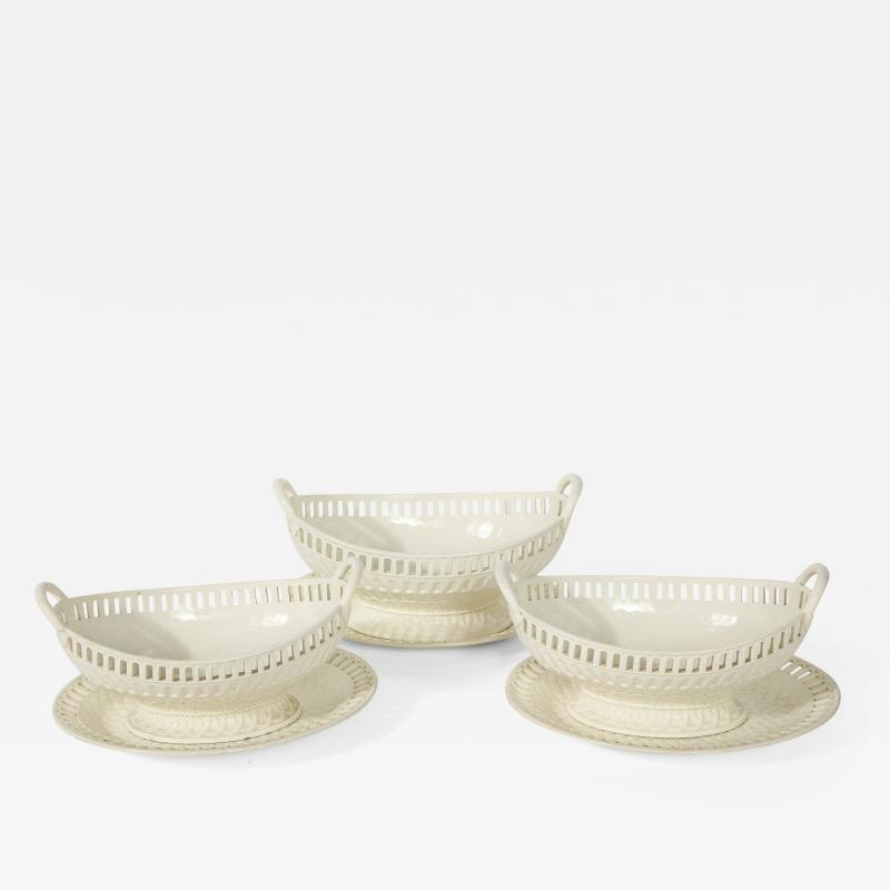 Wedgwood 3 Wedgwood Creamware Serving Bowls with Matching Platters
