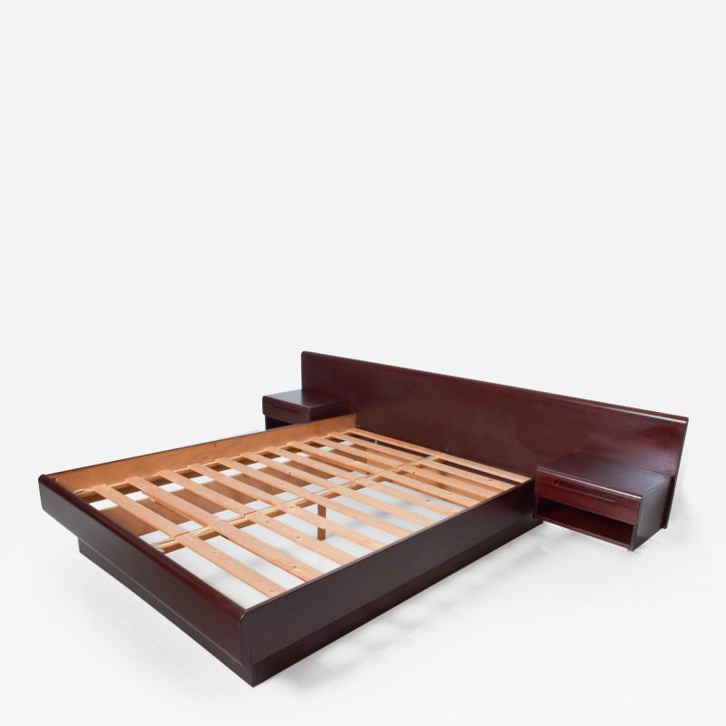 Westnofa of Norway Sleek Danish Modern Rosewood Platform Queen Bed with Floating Nightstands