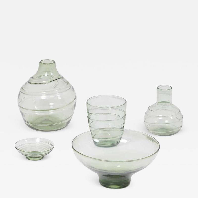 Whitefriars Set of 5 Ribbon Trailed Glass Vases and Bowls by Barnaby Powell for Whitefriars