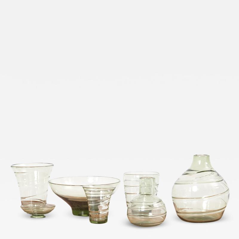 Whitefriars Set of 7 Ribbon Trailed Glass Vases and Bowls by Barnaby Powell UK 1930s