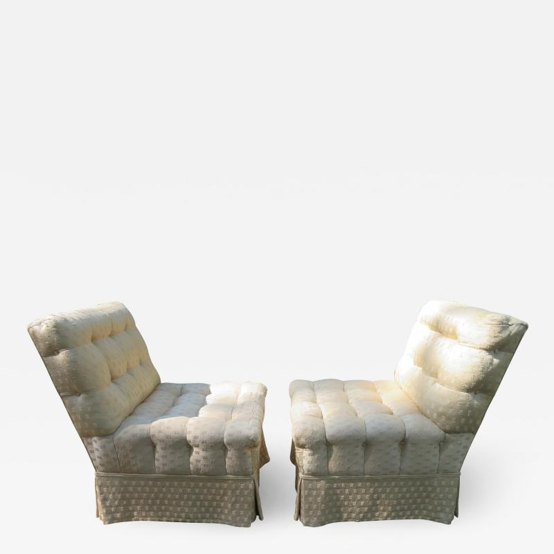 William Haines Inc Fabulous Pair Billy Haines Style Biscuit Tufted Slipper Chairs Hollywood Regency