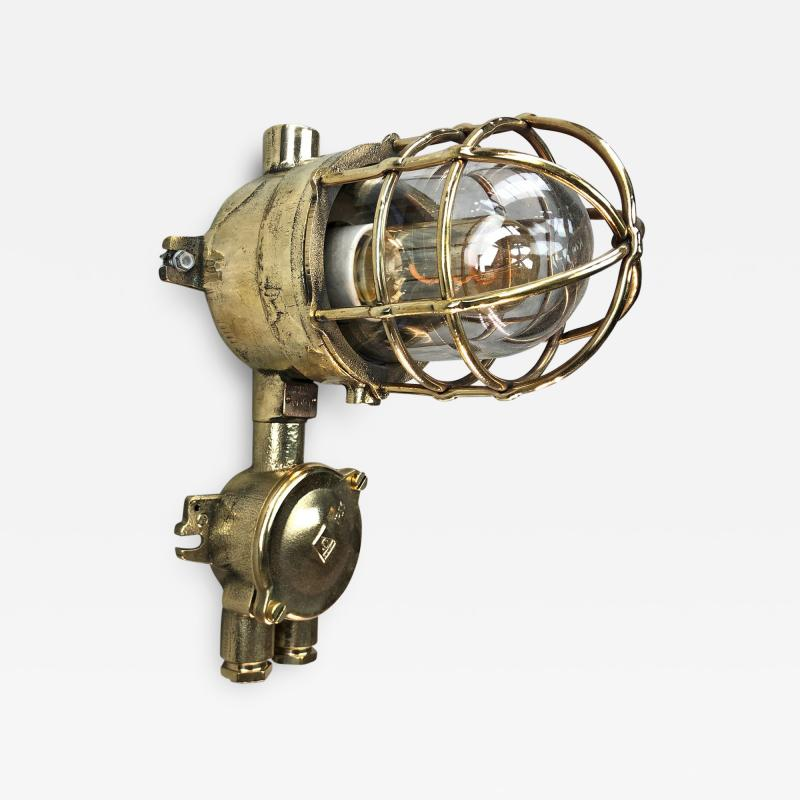 Wiska 1970s German Explosion Proof Cast Brass and Junction Box Outdoor Wall Light