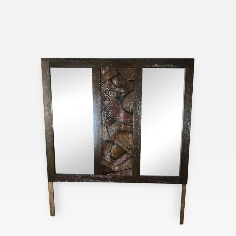 Witco WITCO Brutalist Wall MIRROR Oceanic Tropical Tiki Carved Exotic Wood 1960s