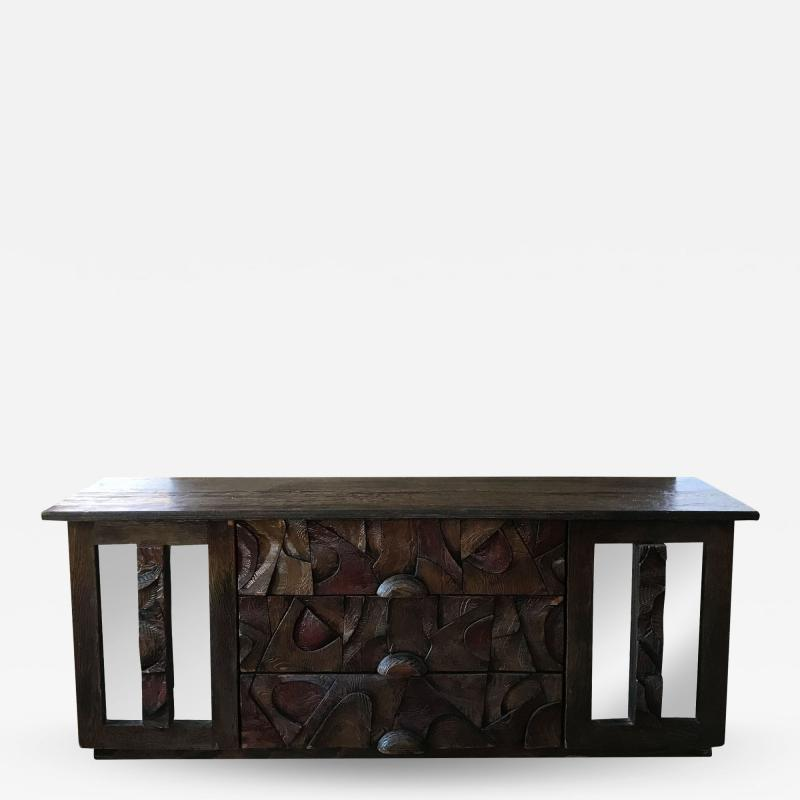Witco WITCO Oceanic Brutalist Mirrored DRESSER in Exotic Carved Tropical Wood
