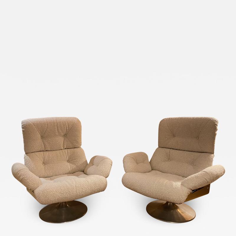Xavier Feal Pair of High Slipper Chairs France 1970s