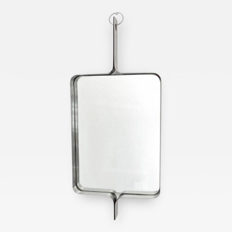Xavier Feal Xavier Feal French Rectangular Brushed Stainless Steel Wall Mirror circa 1970