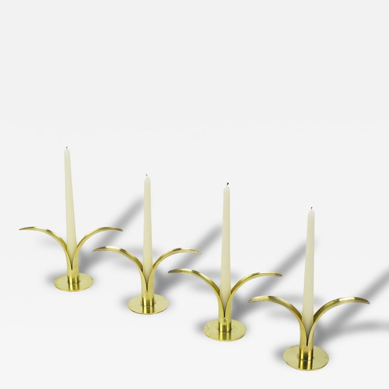 Ystad Metall Four Ystad of Sweden Brass Open Leaf Candlesticks