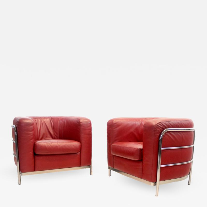 Zanotta Rare Pair of Italian Modern Armchairs Designed by Lomazzi de Pas dUrbino
