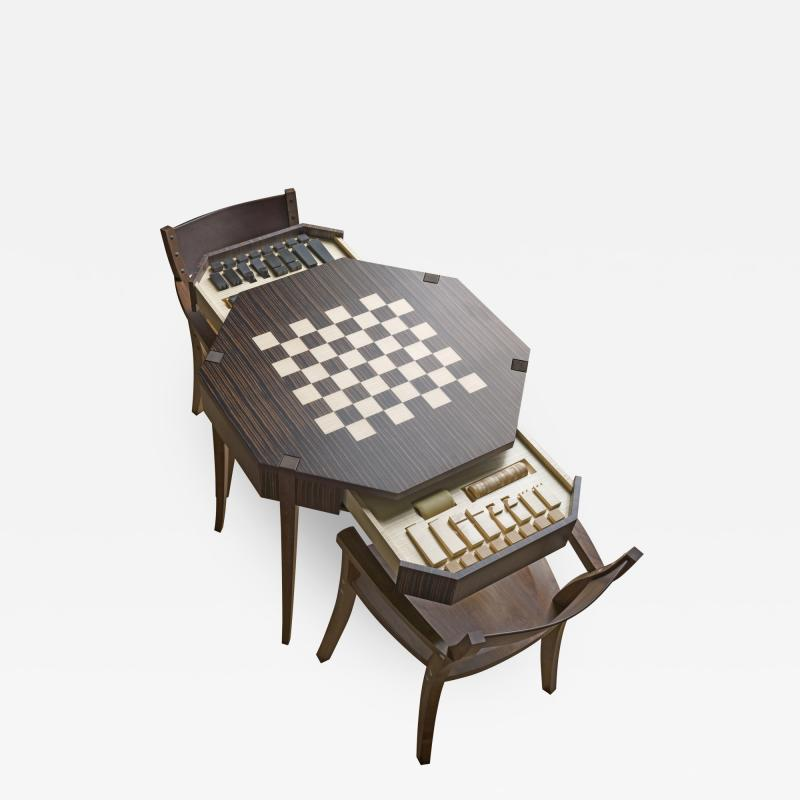 Zelouf Bell Castle Games Table with Edge Director s Chairs