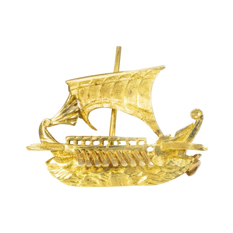Zolatas Zolotas 18 Karat Handmade Gold Ancient Greek Warship Oar Boat Brooch Pin