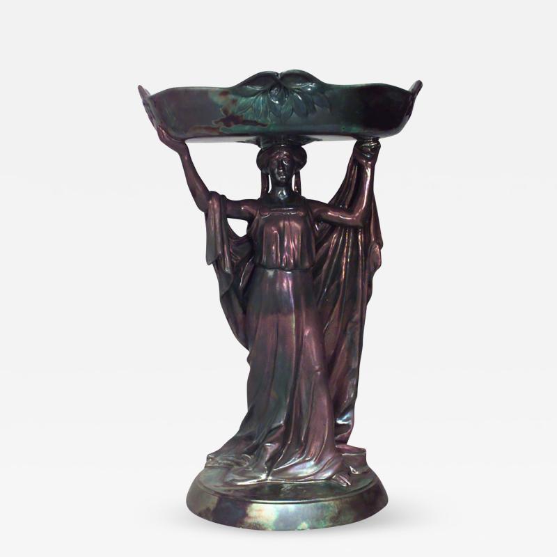 Zsolnay Art Nouveau Zsolnay Porcelain Green Iridescent Centerpiece