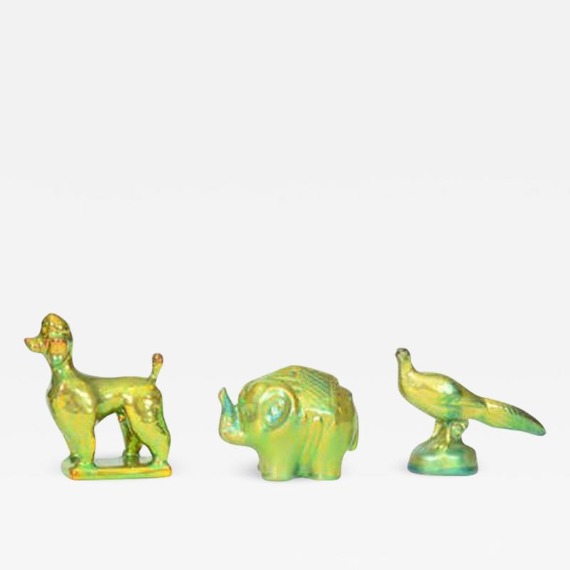 Zsolnay Trio of Zsolnay Iridescent Figures