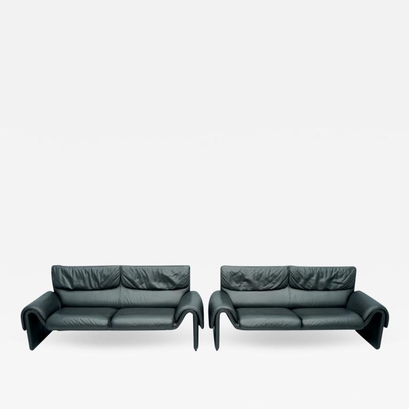 de Sede Black Two Seat Leather Sofa by De Sede Switzerland