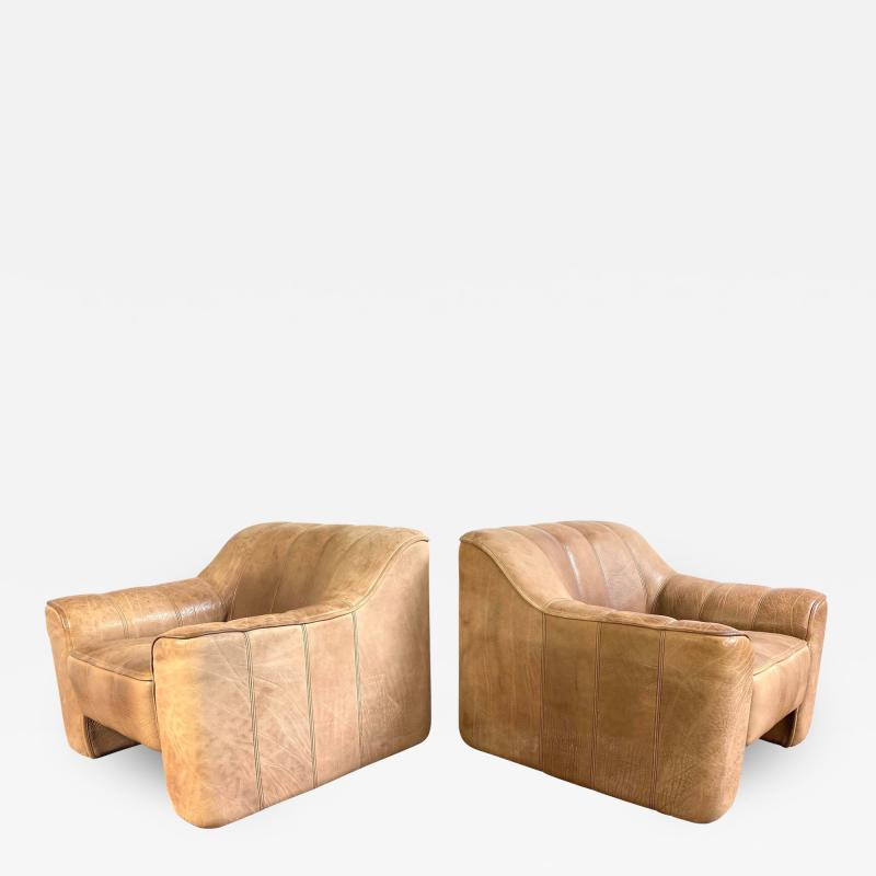 de Sede De Sede Leather Lounge Chairs Model Ds 44 a Pair
