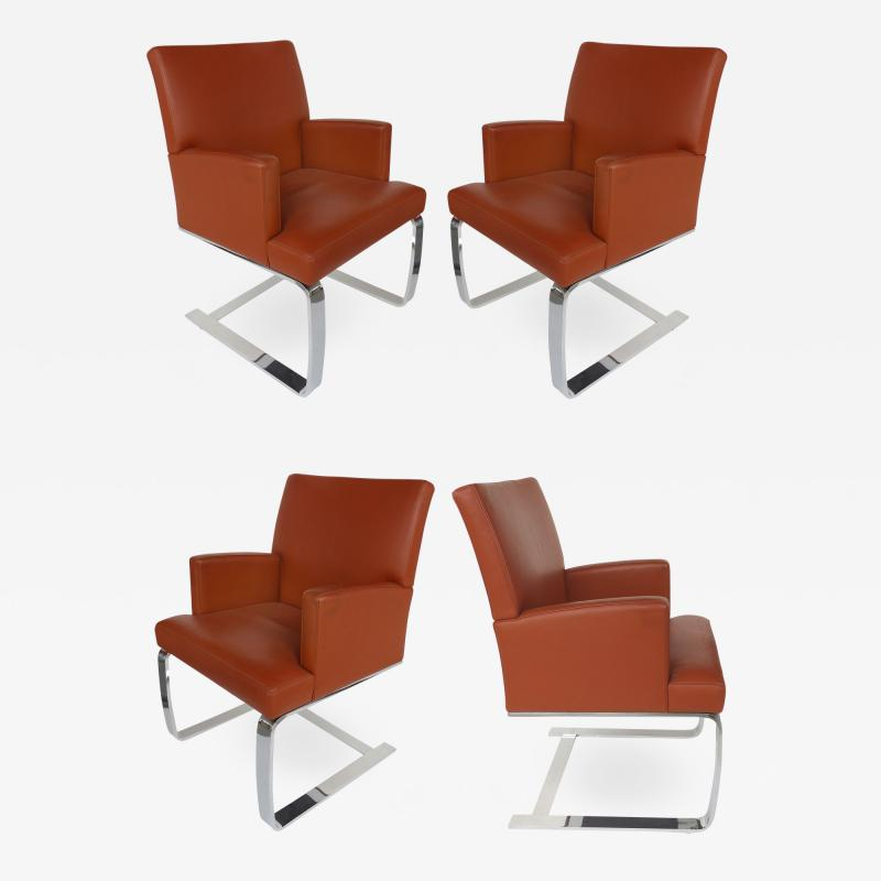de Sede De Sede of Switzerland Cantilevered Leather and Stainless Steel Chairs 4
