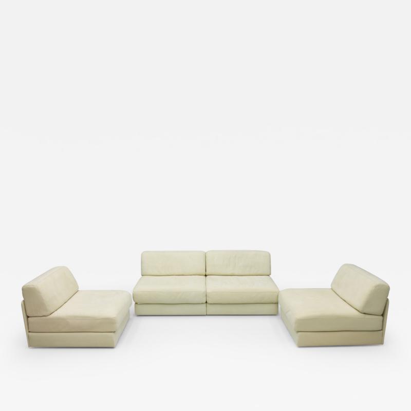 de Sede Set of Four Cream White Leather Modular Sofa Elements DS 76 De Sede Switzerland