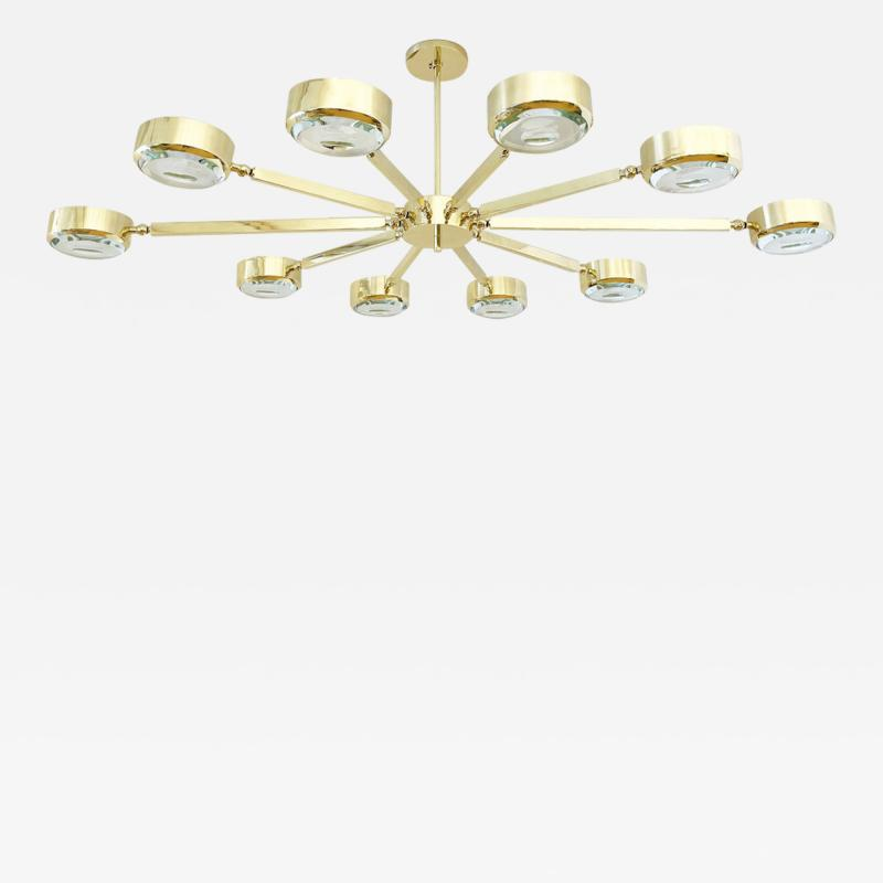 form A Oculus Articulating Ceiling Light Oval Version with Carved Glass