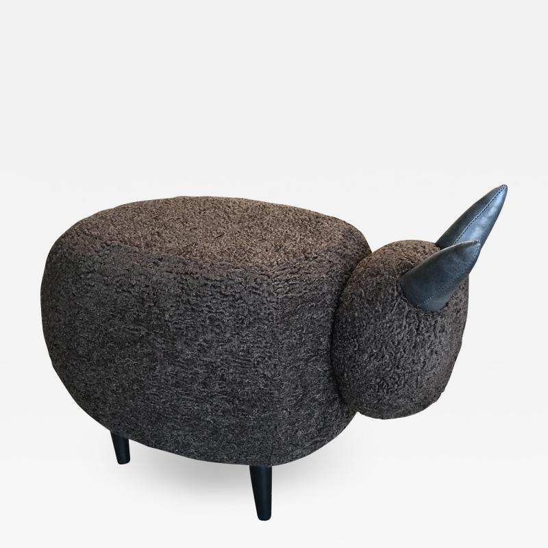ma 39 Ma39 Pouf in Carved Wood Dark Brown Sheep Italy 21st Century