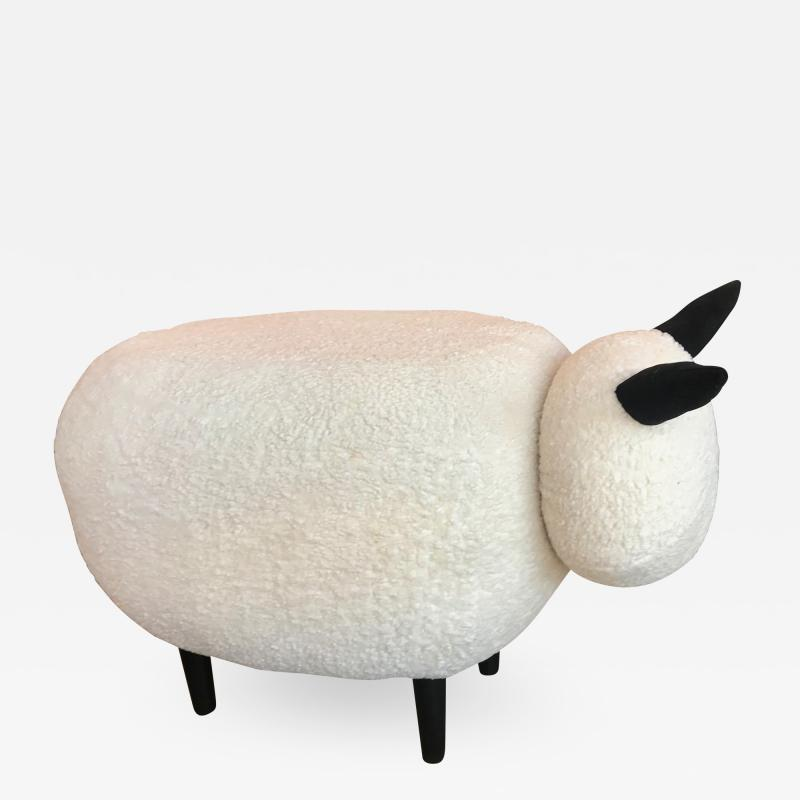 ma 39 Ma39 Pouf in Carved Wood Sheep Italy 21st Century