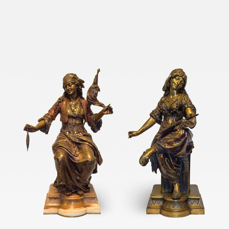 mile Coriolan Hippolyte Guillemin Fine Quality Pair of Patinated Bronze of Female Gypsies